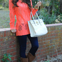 Kind Of Everything Sweater: Coral | Hope's