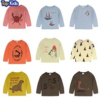 Carton Print T-shirt Autumn Winter Kids Long Sleeve T Shirts Boys Girls Baby Tees Tops