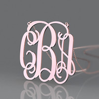 Modern monogram necklace rose plated in gold with 3 initial 1 inch monogram necklace