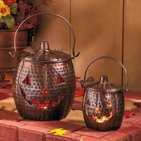 Pumpkin Lantern Halloween Jack O Metal Decor Hanging Set Autumn Candle Fall