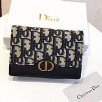 DIOR High Quality New Women Leather Buckle Wallet Purse
