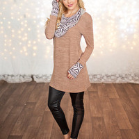 Two Tone Brown Aztec Cowl Neck and Cuff Tunic Top