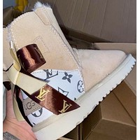 LV Louis Vuitton new printed letter bow snow boots Shoes