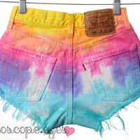 Vintage Levi's Tie Dyed Denim High-Waisted Shorts