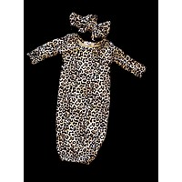 Leopard Baby Gown + Bow