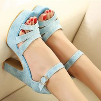 Candy Color High Heel Sandals for Women