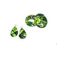 Green African Fabric Earring And Bangle Set