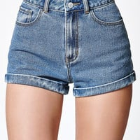 John Galt Boutique Blue Cuffed Denim Mom Shorts at PacSun.com