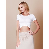 Curved Hem Short Sleeve Crop Top (CLEARANCE)