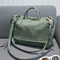 Vintage Double Strap Nubuck Leather Handbag