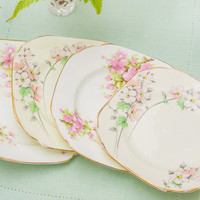 Pretty set of four cherry/ apple blossoms vintage tea plates, perfect for serving cakes and pastries
