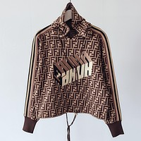 Fendi 2019 new hooded drawstring F jacquard letter knit top Coffee