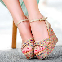 summer of 2016 the new Roman straw thick waterproof platform wedge bottom sandals female sponge with size code sandals on sale