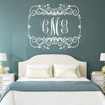 Wall Decal Monogram Vinyl Lettering Sticker Personalized Initial Custom Decals Family Decor Frame Wall Decals Nursery Bedroom Decor AN755