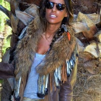 Tan Fur Collar w/Fringe