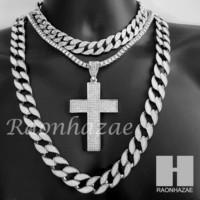 "Hip Hop Cross Pendant 16"" Choker 18"" Tennis 30"" Miami Cuban Chain 21S"