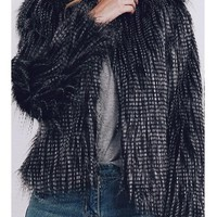 Black Round Neck Long Sleeve Fashion Winter Faux Fur Coat