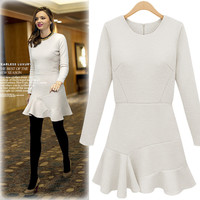 Long-Sleeve Hem Peplum Dress