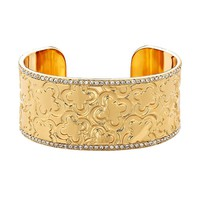 Marie Claire Jewelry Crystal Gold Tone Clover Cuff Bracelet (Yellow)