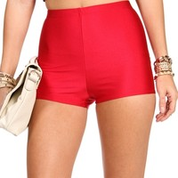 Red High Waist Hot Shorts