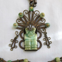 Vintage Green Dyed Mexican Onyx Ethnic Copper Aztec style Mythical God Pendant and Onyx Beads Necklace
