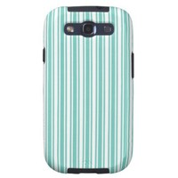Teal And White Vertical Stripes Samsung Galaxy S3 Cover