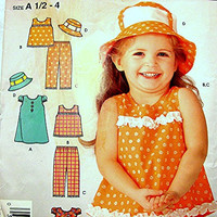Toddler Girls Dress Pattern with Dress Top Pants and Hat size 1/2 1 2 3 4 UNCUT Easy to Sew