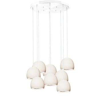 """5"""" Matte White Geode Crystal Stagger Chandelier- White Cord"""