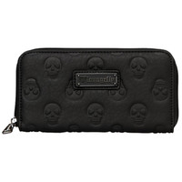 """Embossed Skull"" Zip Around Wallet by Loungefly (Black)"