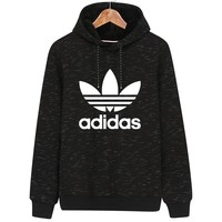 ADIDAS Clover Autumn and winter trend casual sports hooded sweater black