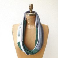 New York Jets T Shirt Infinity Scarf / Gray / Hunter Green / Upcycled / Recycled / NFL Football / Cotton / Soft / Fashion / ohzie