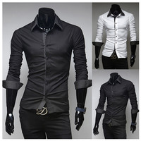 Stripe Trim Style Men's Fashion Slim Fit Dress Shirt