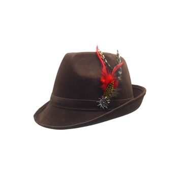 """Brown """"German Hunter"""" Hat Fedora And Edelweiss & Feather"""