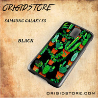 Cactus Black Pattern For Samsung Galaxy S5 - Gift Present Multiple Choice