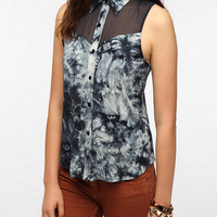 Urban Outfitters - Staring at Stars T-Back Tie-Dye Button-Down Top