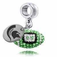 Buy Officially Licensed Michigan State Spartans Crystal Football Drop Charm. Free Shipping.