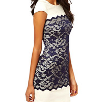 Short Sleeve Lace Embroidered Mini Bodycon Dress
