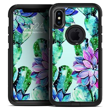 Watercolor Cactus Succulent Bloom V11 - Skin Kit for the iPhone OtterBox Cases