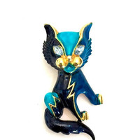 Sphinx Blue Enamel Cat Brooch, Sapphire and Turquoise Blue Enamel, Dimensional Figural, Blue Crystal Eyes, Unsigned Vintage Statement Brooch
