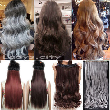 """USA SHIP 29"""" (73cm) Curly/Wavy Long Women lady Clip in Hair Extensions 100% Real As Natural Hair Extentions New Gray Brown"""