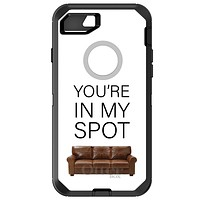 """DistinctInk™ OtterBox Defender Series Case for Apple iPhone / Samsung Galaxy / Google Pixel - Brown Couch """"You're in My Spot"""""""