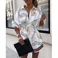 GUCCI Fashion Women Long Sleeved Lapel Shirt Dress