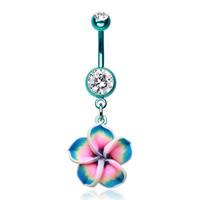 Colorline Hawaiian Plumeria Flower Belly Button Ring - Sold Individually