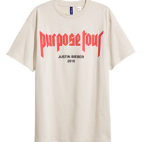 Printed Crew-neck T-shirt - from H&M