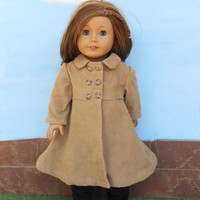 18 Inch Doll Clothes, Camel Doll Coat, Tan Doll Coat, Corduroy Doll Coat, Winter Doll Clothes, Fits American Girl Dolls