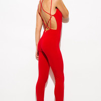 Criss Cross Cage Backless Jumpsuit Red