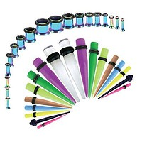 Gauges Kit Mix Color Tapers Rainbow Plugs Steel 14G-00G Stretching Set 36 Pieces