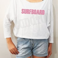 Surfboard Shirts Beyoncé Shirts Beyonce Shirts Pink Text Shirts Bat Sleeve Tee Crop Long Sleeve Oversized Sweatshirt Women Shirt - FREE SIZE