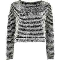 River Island Womens Black stripe fluffy knitted top