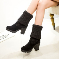 New Fashion Women's Knit Leather Knee-High Boots. = 1704207556